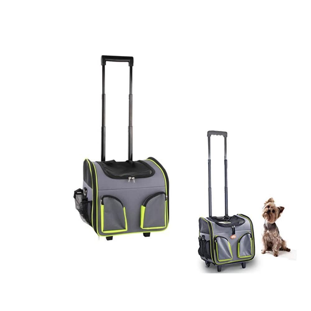 b8057bbd642d Τσάντα Μεταφοράς Κατοικίδιου Pawise Γκρι Πράσινο σε Τρόλεϊ 37x27x33cm